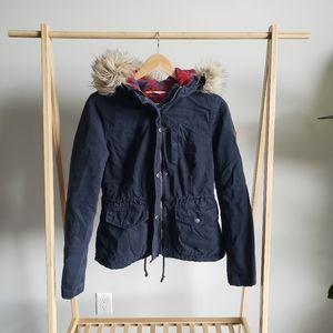 Hollister Navy Coat with Fur